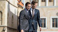 Tenisté Roger Federer a Tomáš Berdych při setkání v Praze.