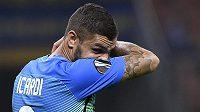 Zklamaná hvězda Interu Milán Mauro Icardi po šokující porážce v Evropské lize.
