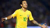 Brazilec Neymar se podílel na výhře Kanárků na půdě Uruguaye 4:1 v kvalifikaci o postup na MS 2018 jedním gólem. Na hřišti si to užíval se vším všudy.