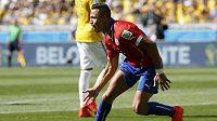 Chilan Alexis Sánchez se raduje z vyrovnávací branky proti Brazílii v osmifinále MS.