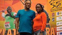 Wellesley a Jennifer Boltovi, rodiče sprinterského světového rekordmana při návštěvě Ostravy.