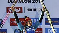 Zlato je doma. Gabriela Koukalová vyhrála sprint na 7,5 kilometru na mistrovství světa v Hochfilzenu.