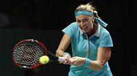 Česká tenistka Petra Kvitová při utkání na Turnaji mistryň proti MArii Šarapovové.