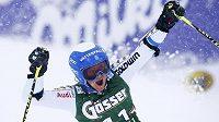 Radost švédské lyžařky Sary Hectorové z vítězství v obřím slalomu Světového poháru v rakouském středisku Kühtai.