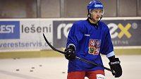 Tomáš Hyka během tréninku hokejové reprezentace v rámci předsezonního kempu v Praze.