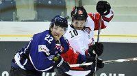 V utkání skupiny A hokejové Ligy mistrů bojují o puk Vít Jonák (vlevo) z Liberce a Jamie Johnson z Kolína nad Rýnem.