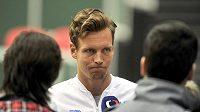 Tenista Tomáš Berdych hovoří s novináři v ostravské ČEZ Aréně při setkání před zápasem 1. kola Davisova poháru proti Nizozemsku.