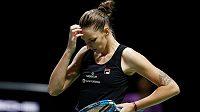 Karolína Plíšková v semifinále Turnaje mistryň proti Sloane Stephensové.