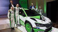 Modifikovaná verze Škody Fabia R5, která bude nasazena do závodů v nadcházejícím roce při představení v Praze.