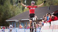 Jaroslav Kulhavý se raduje po vítězství na SP v Norsku.