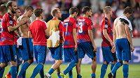 Plzeňští fotbalisté krátce po vyřazení v play off o Ligu mistrů.
