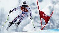 Ondřej Bank na cestě k devátému místu v olympijském super-G.