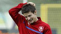 Václav Pilař na tréninku fotbalové reprezentace v polské Vratislavi