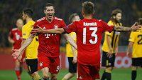 Lewandowski a Rafina slaví branku do sítě AEK
