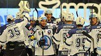 Plzeňští hokejisté se radují z vítězství nad Brnem.