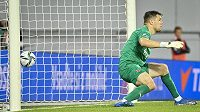 Brankář Slavie Aleš Mandous pouští gól.