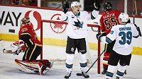 Hokejista San Jose Lukáš Radil se raduje z gólu proti Calgary poté, co překonal brankáře Davida Ritticha