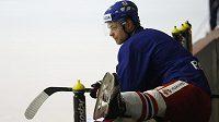 Vladimír Sobotka na tréninku hokejové reprezentace v Ice Areně v Letňanech.