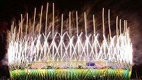 Ohňostroj nad Olympijským stadiónem