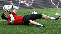 Brankář Petr Čech na tréninku fotbalové reprezentace
