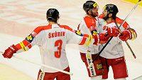 Hráči Olomouce se radují z vítězství v Českých Budějovicích.