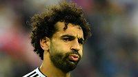 Egyptský kanonýr Mohamed Salah se dlouho v utkání MS proti Rusku tvářil nespokojeně.