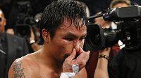 Zklamaný Manny Pacquiao po prohraném zápase.
