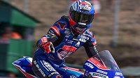 Vítěz kvalifikace na Velkou cenu České republiky kategorie Moto3 Jakub Kornfeil z České republiky.
