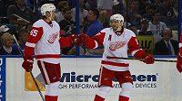 Hokejisté Detroitu Red Wings Danny DeKeyser (vlevo) a Pavel Datsyuk se radují ze vstřelení gólu.