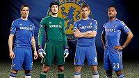 Fernando Torres, Petr Čech, Frank Lampard a Daniel Sturridge předvádějí dresy Chelsea pro příští sezónu.