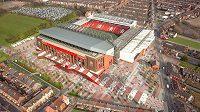Vizualizace nového Anfield Road ptačím pohledem.