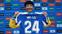 Nová posila Espanyolu, útočník Wu Lei.