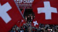 Oslavy švýcarského triumfu v Davisově poháru.