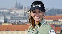 Golfistka Klára Spilková před tiskovou konferencí v Praze.