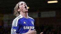Zklamaný útočník Chelsea Fernando Torres během zápasu s Norwichem.