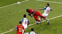 Belgičan Romelu Lukaku střílí svůj první gól proti Panamě.