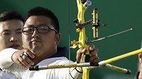 Jihokorejský lukostřelec Kim U-čin na olympijské střelnici.