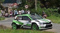 Jan Kopecký se Škodou Fabia S2000 na trati Bohemia rallye 2017.