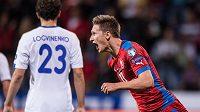Český útočník Milan Škoda vstřelený gól proti Kazachstánu.