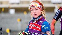Biatlonistka Markéta Davidová při tréninku v Novém Městě na Moravě.