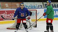 Hokejový útočník Jan Kovář (vlevo) na tréninku české hokejové reprezentace.