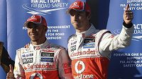 Kvalifikaci v Austrálii opanoval McLaren. Pole position si vyjel Lewis Hamilton (vlevo), druhý skončil Jenson Button.