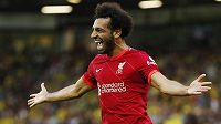 Mohamed Salah z Liverpoolu oslavuje svou trefu do sítě Norwiche.
