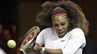 Serena Williamsová při čtyřhře v utkání Fed Cupu s Nizozemskem.