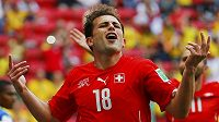 Švýcar Admir Mehmedi jásá poté, co vstřelil gól Ekvádoru.