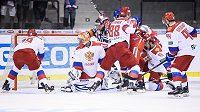 Gól Filipa Chytila proti Rusku během utkání turnaje Carlson Hockey Games.