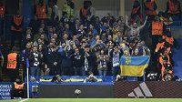 Fanoušci Dynama Kyjev na Stamford Bridge během utkání Ligy mistrů proti Chelsea.