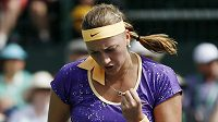 Tenistka Petra Kvitová se povzbuzuje na turnaji v Indian Wells.