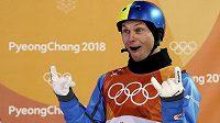 Upřímná radost ukrajinského akrobatického lyžaře Oleksandera Abramenka.