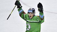 David Šťastný z Mladé Boleslavi se raduje z gólu.